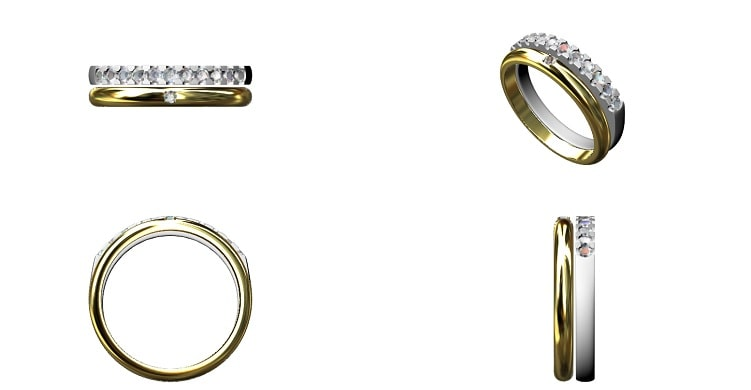 甲丸の指輪とダイヤ付きのストレートの指輪